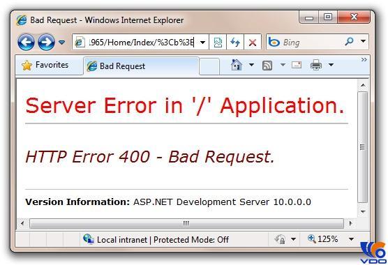 Lỗi 400 Bad File Request và cách khắc phục