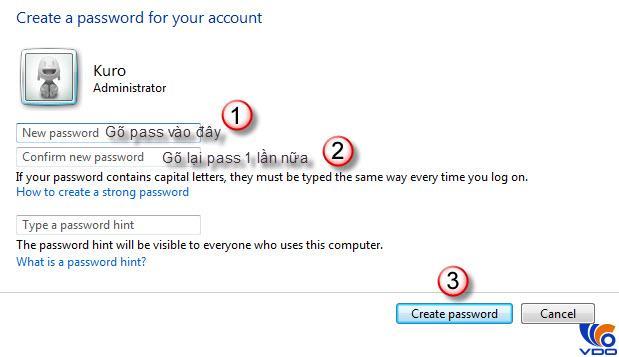 Cài mật khẩu cho máy tính win 7