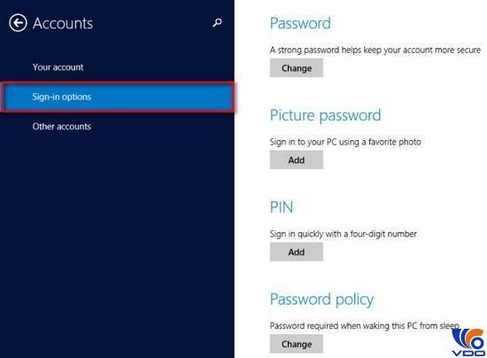Cài đặt đặt mật khẩu cho máy tính trên Window 8