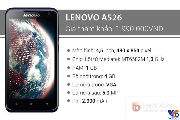 Điện thoại dưới 2 triệu - Lenovo A526