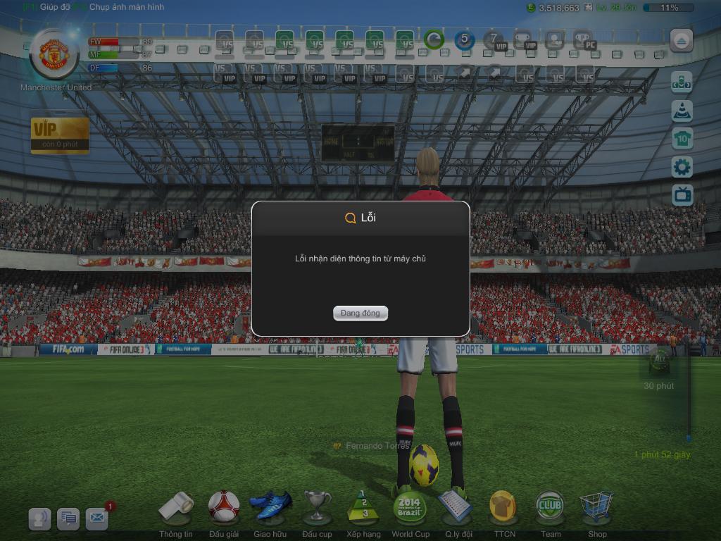Lỗi nhận diện thông tin tin từ máy chủ khi đang chơi Fifa Online 3