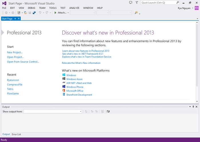 Cửa sổ làm việc của Visual Studio Community 2013