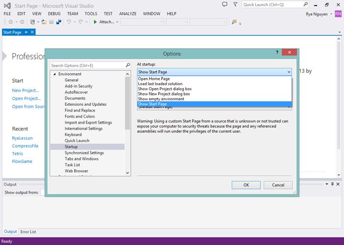 Giao diện Visual Studio Community 2013
