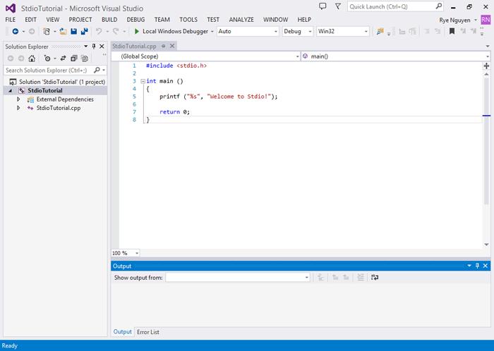 Chương trình đầu tiên của mình trên Visual Studio 2013