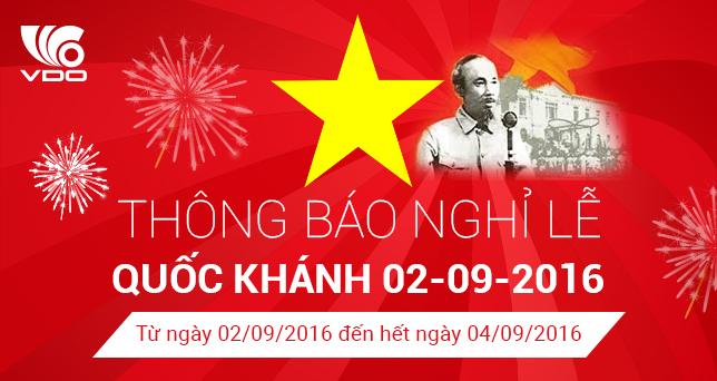 Thông báo nghĩ lễ Quốc Khánh 2-9-2016