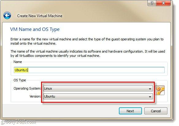 Đặt tên và chọn Hệ điều hành