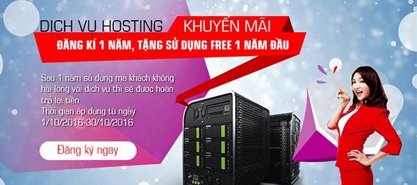 Đăng kí 1 năm hosting được miễn phí 1 năm đầu sử dụng
